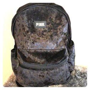 Black velvety Victoria's Secret backpack